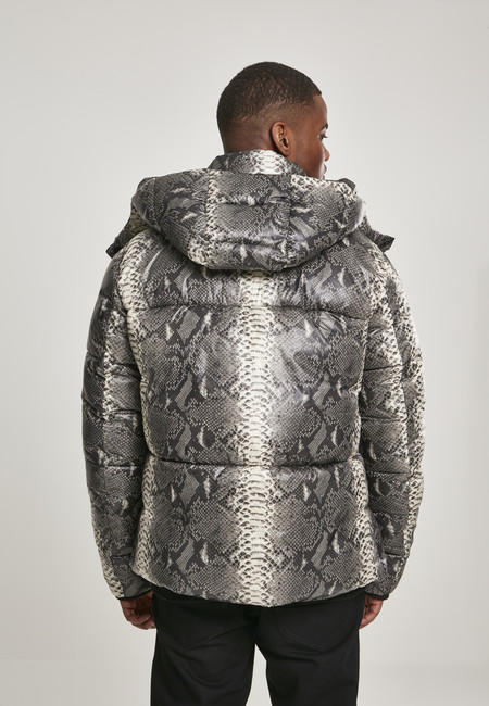 Urban Classics Hooded AOP Puffer Jacket grey snake